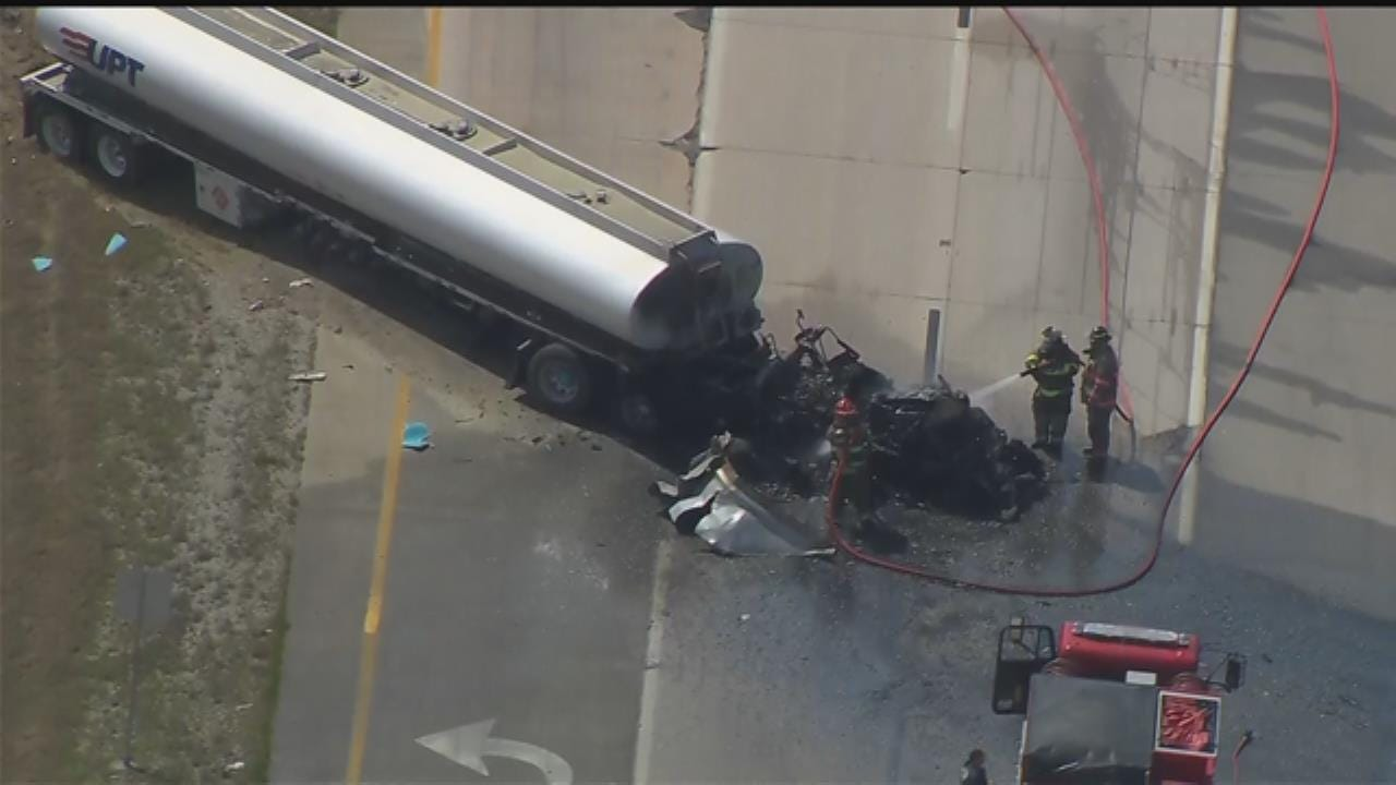 WATCH: Semi Trucks Crash On Highway 412 In Rogers County
