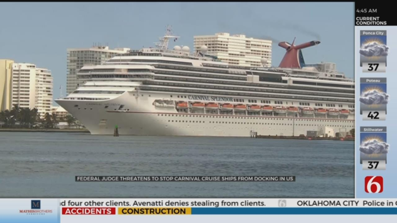 Judge threatens to stop Carnival ships from docking In U.S.