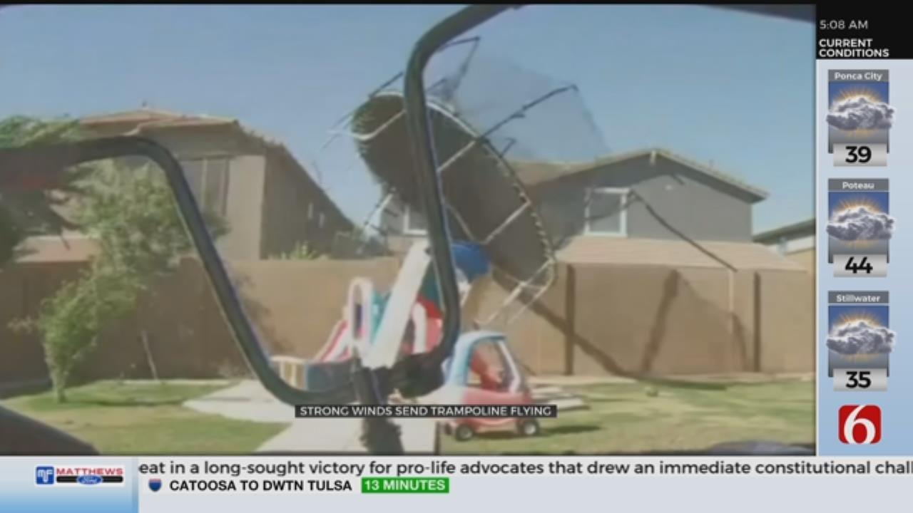 WOW: Wind Sends Trampoline Flying