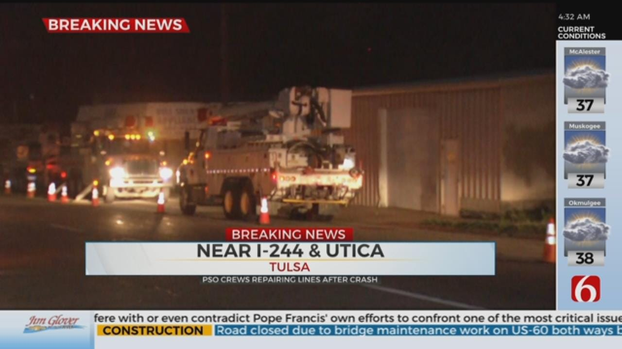 Pickup Hits Power Pole Causes Power Outage, Damages Police Vehicle