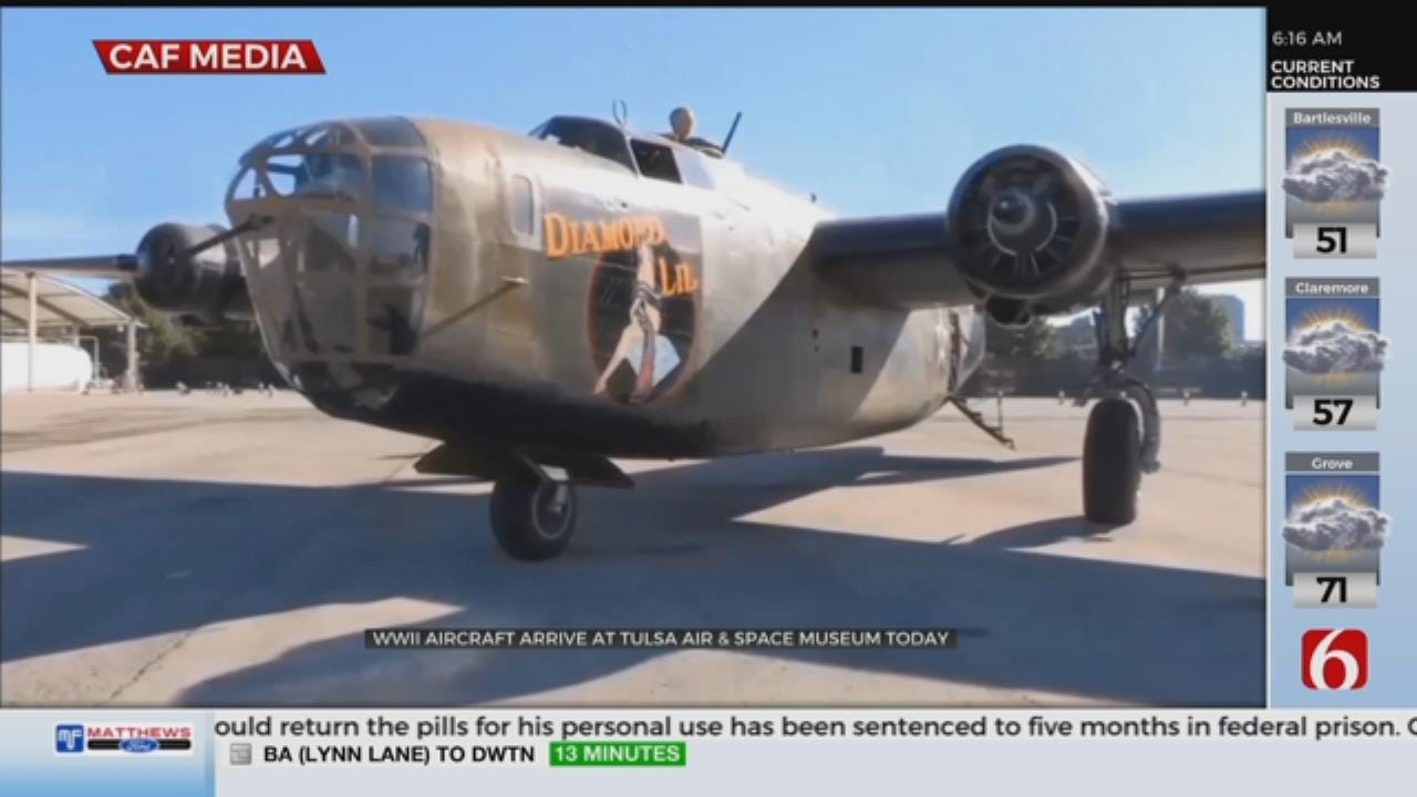 B-24 Bomber Plane Is Landing In Tulsa, Visiting Tulsa Air And Space Museum