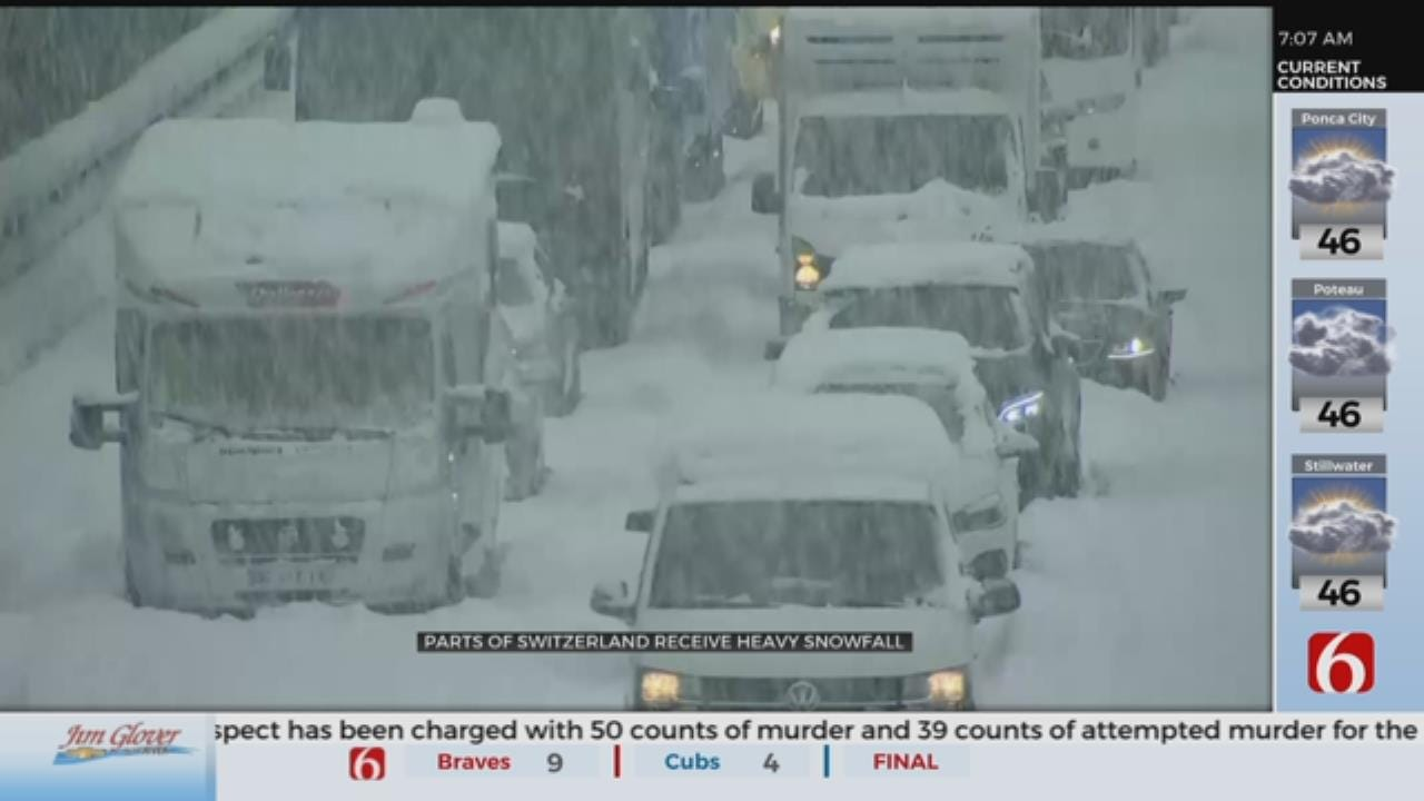 WATCH: Snow Causes Traffic Issues In Switzerland