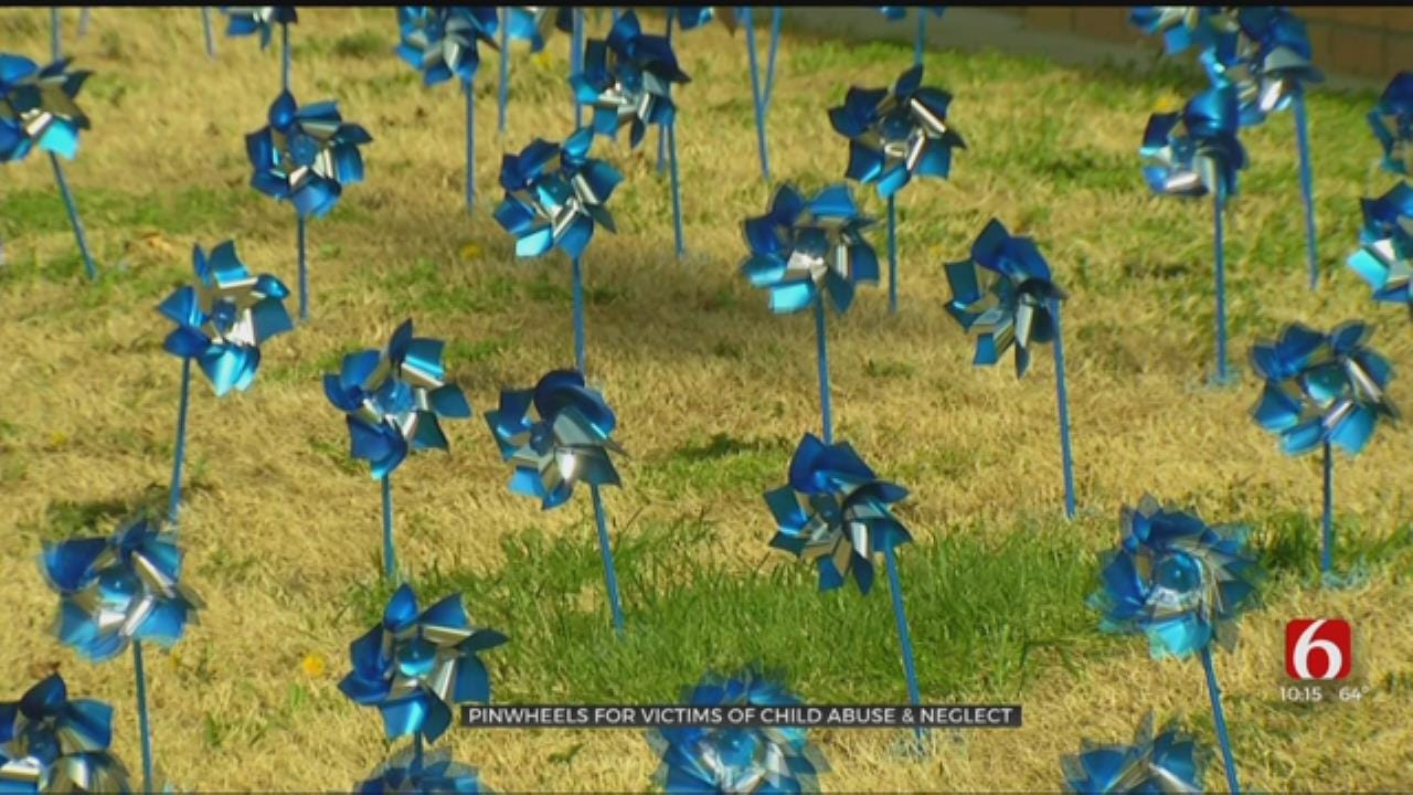 300 Pinwheels Displayed At Tulsa Courthouse For Victims Of Child Abuse And Neglect