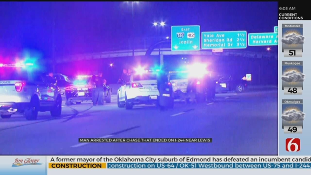 1 Arrested In Tulsa After Chase Through 2 Counties