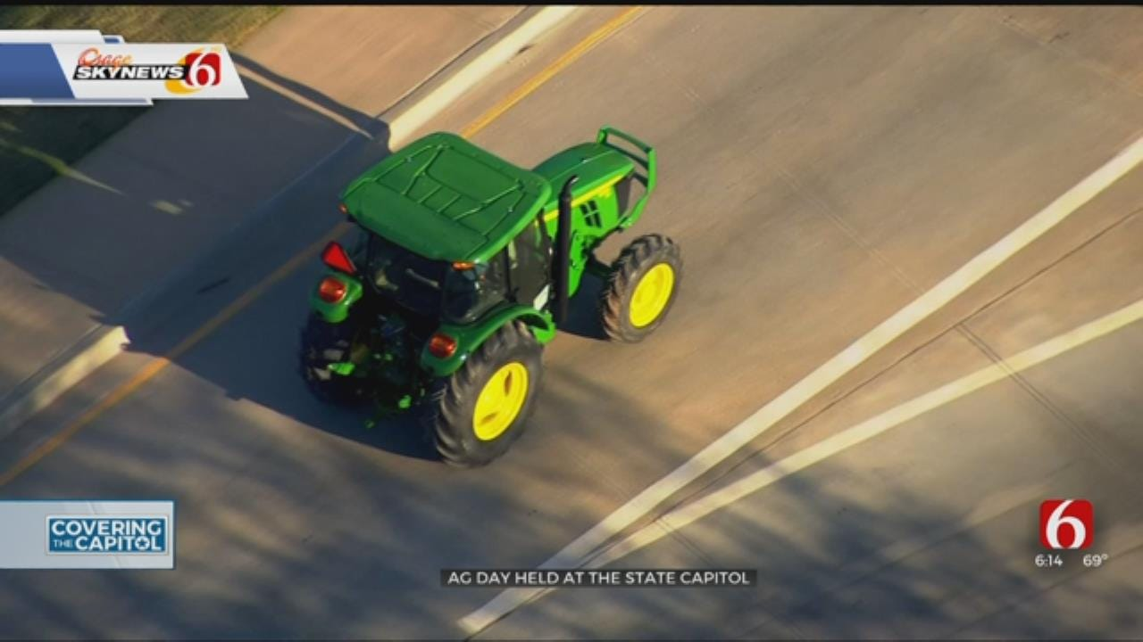 Governor Rides Tractor Through OKC For Ag Day