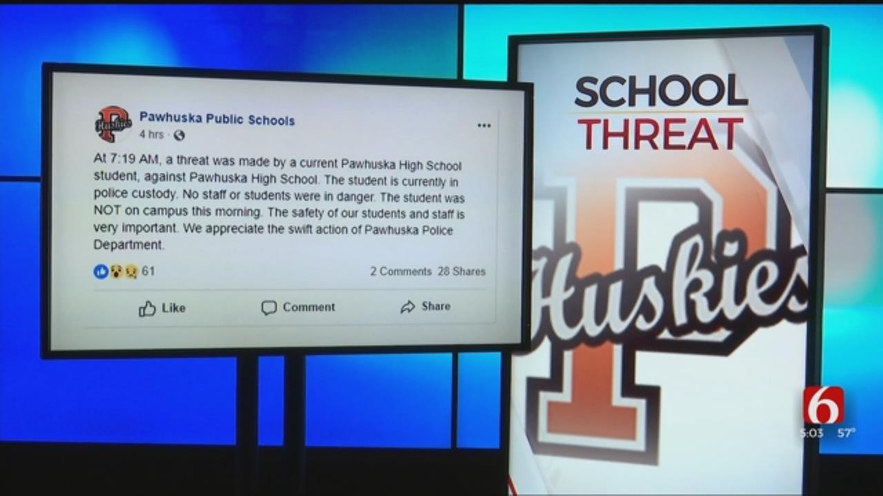 Pawhuska Student In Custody For Making Threat Against School, Police Say