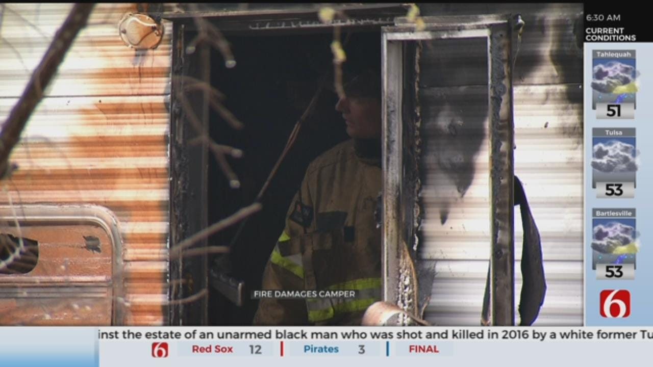 Tulsa Firefighters Working To Identify Source Of Camper Fire
