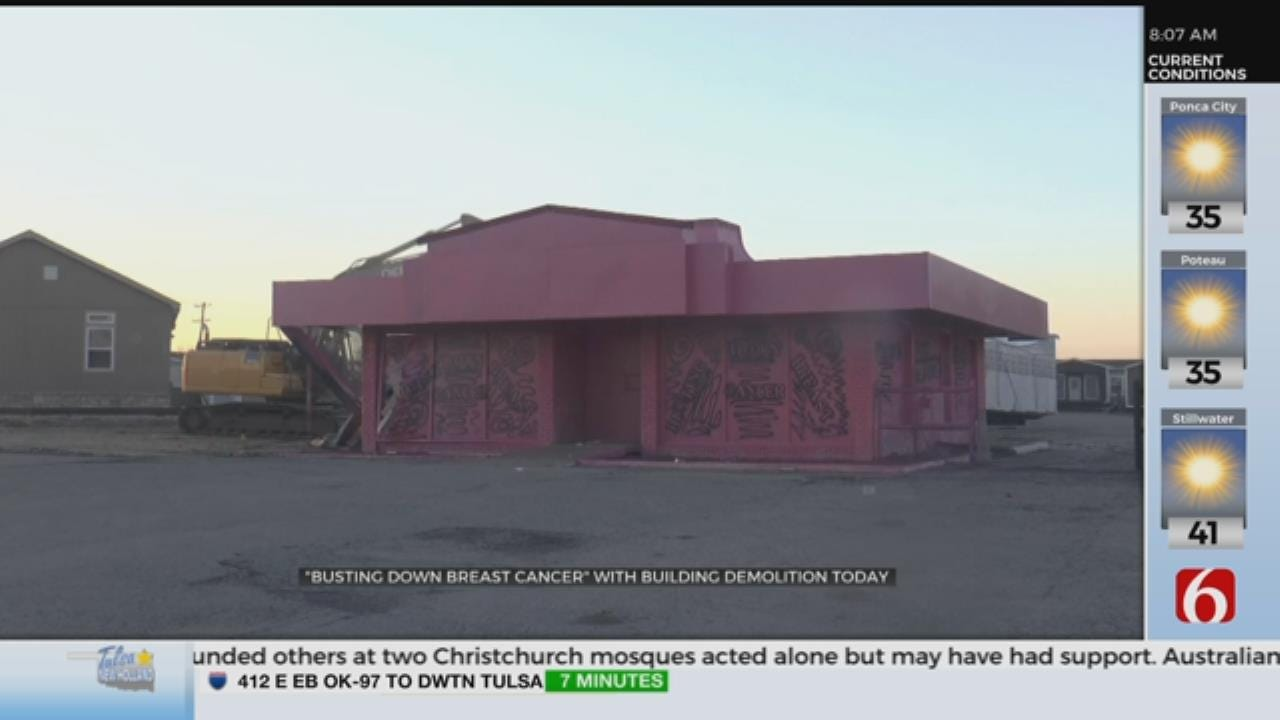 Demolition Of Tulsa Building Helps Raise Breast Cancer Awareness