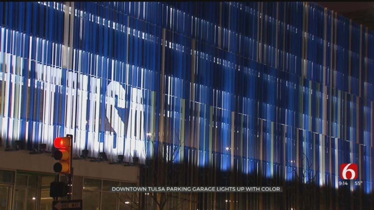 Downtown Tulsa Parking Garage Lights Up With Color