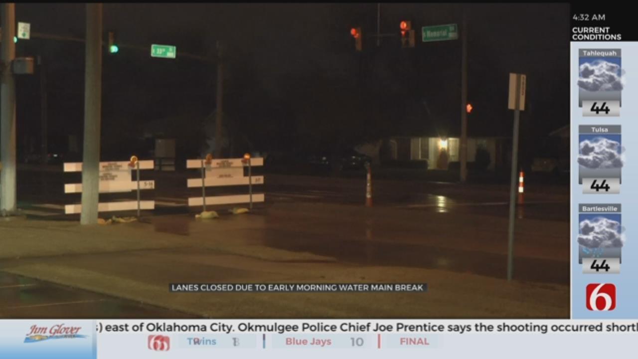 Tulsa Water Main Break Impacts Traffic