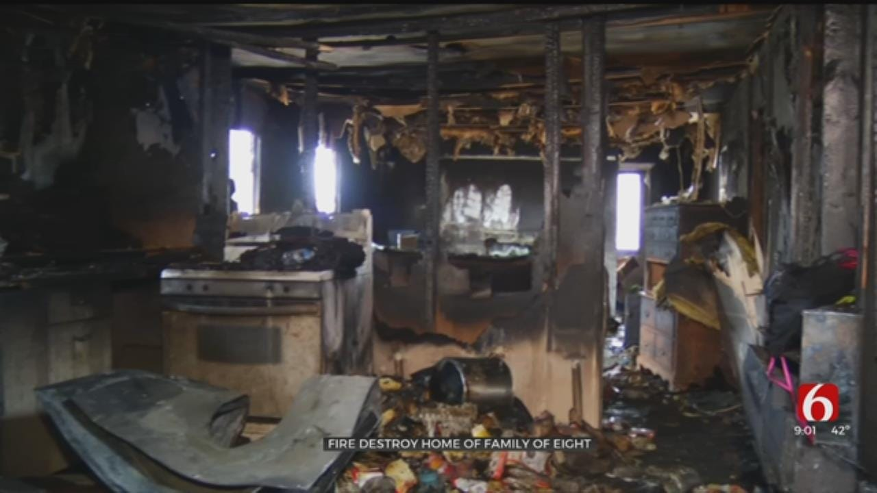 Tulsa Family Of Eight Escapes Burning Home