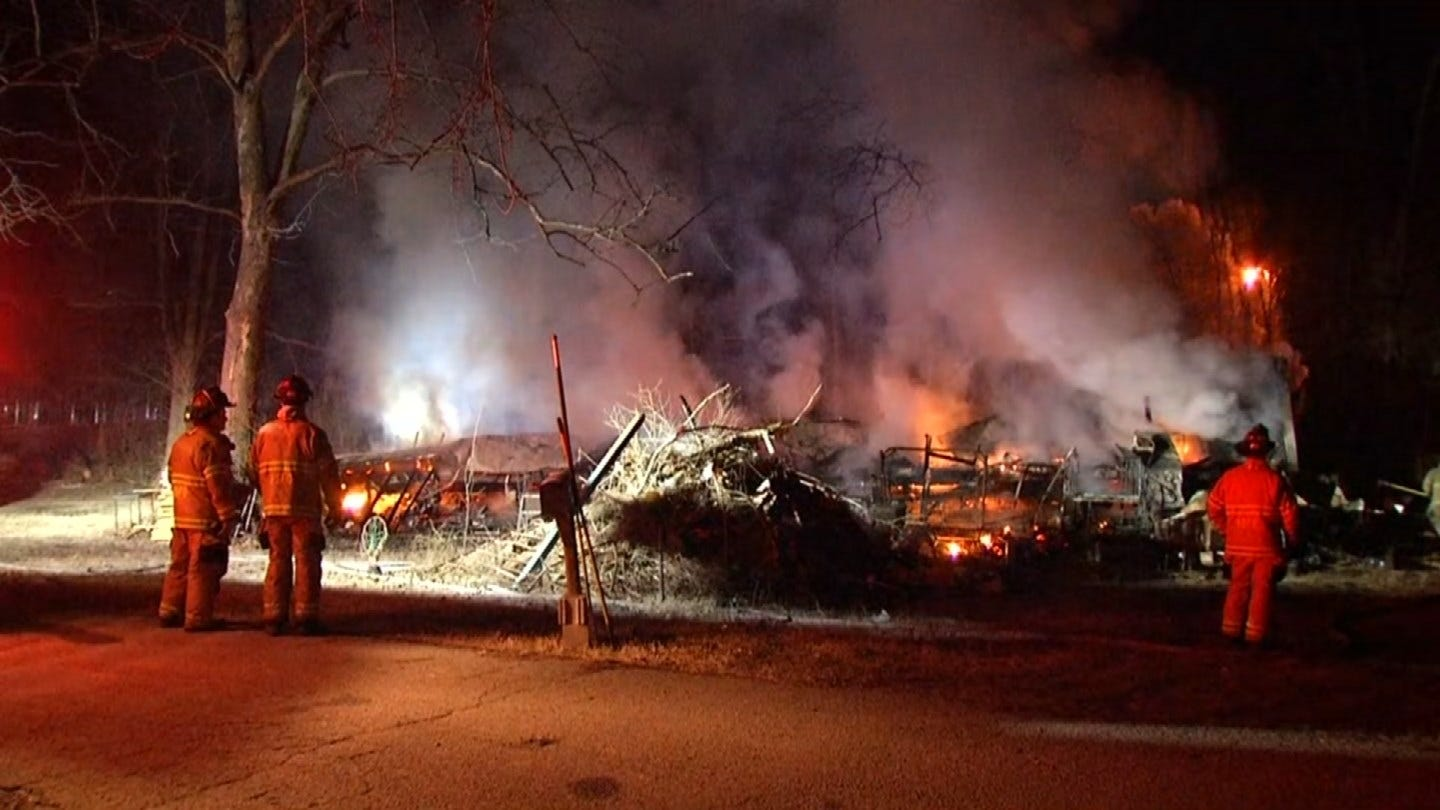 Firefighters Responding To Mobile Home Home Fire Near Sand Springs