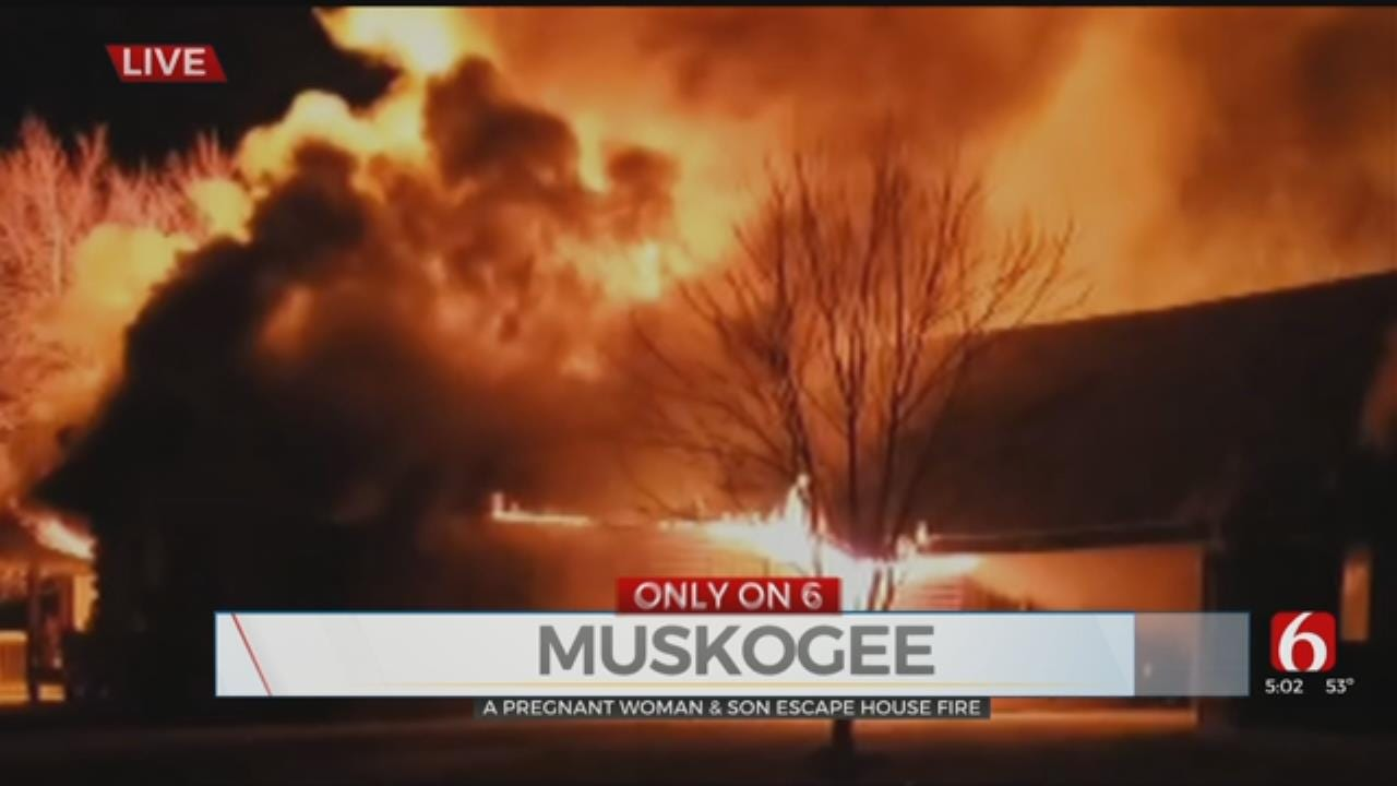 Pregnant Woman Grabs Son, Escapes Burning Home Near Muskogee
