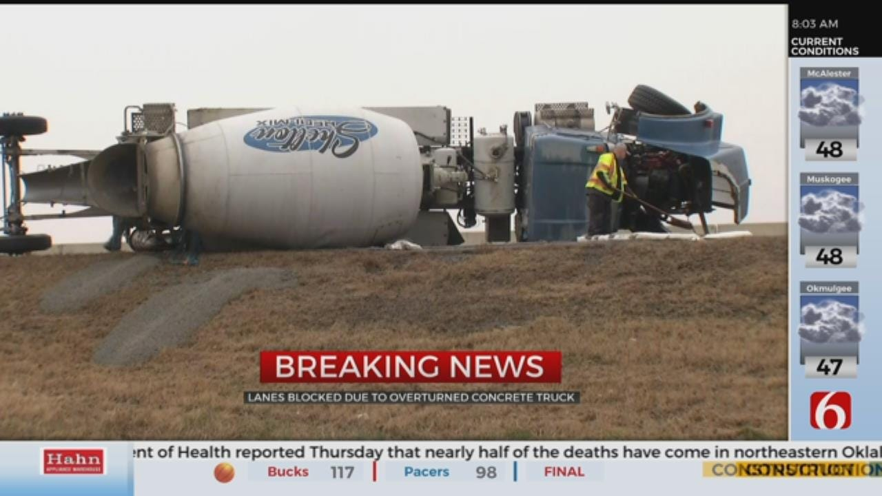 Concrete Truck Overturns On I-44 At Adair Exit