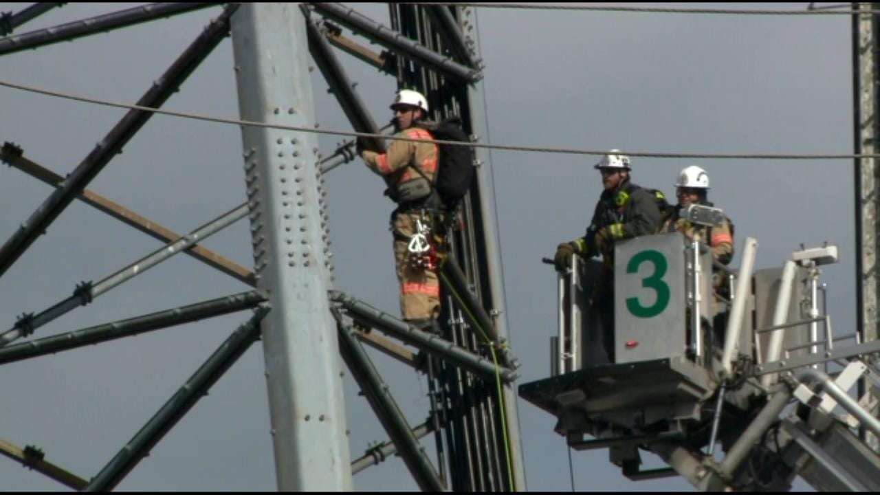Crews Attempt To Rescue Worker Stuck On D.C. Radio Tower