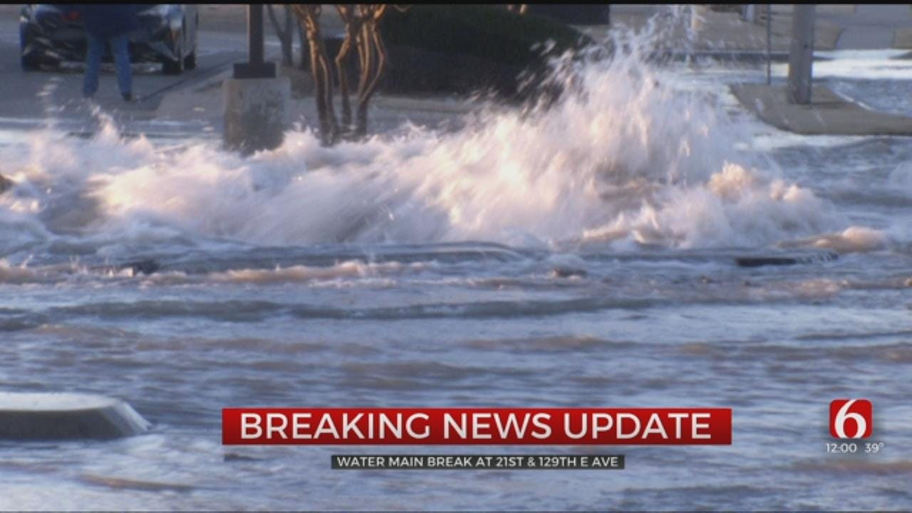 Water Main Breaks Flood Tulsa Streets, Yards