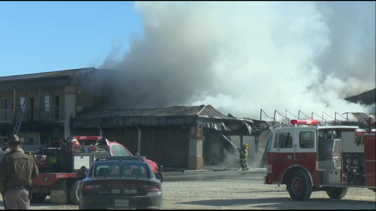 WATCH: Firefighters Battle Fire At Checotah Motel