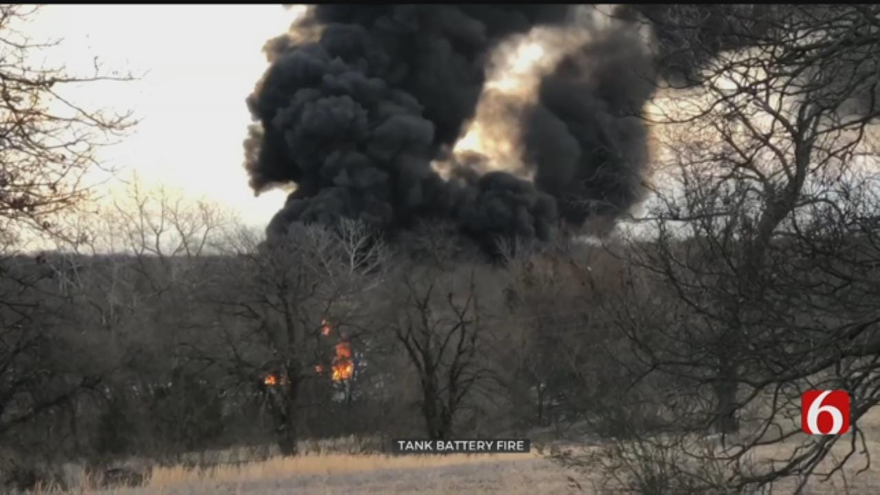 Firefighters Say Tank Battery Fire Under Control In Creek County