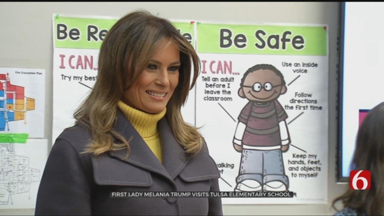 First Lady Melania Trump Visits Tulsa Elementary School