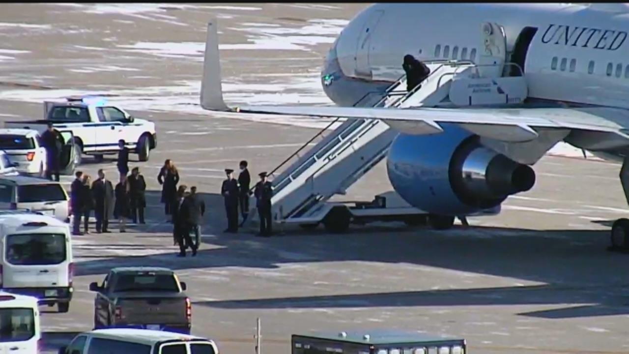 First Lady Melania Trump Arrives At Tulsa International Airport