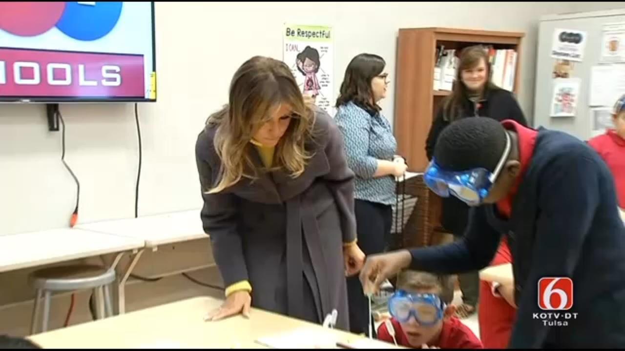 WATCH: First Lady Melania Trump Visits Tulsa Science Class