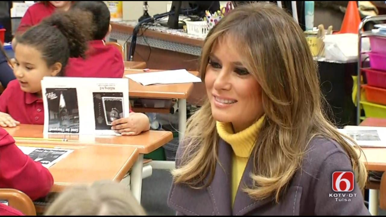 First Lady Melania Trump Talks To Tulsa Classroom