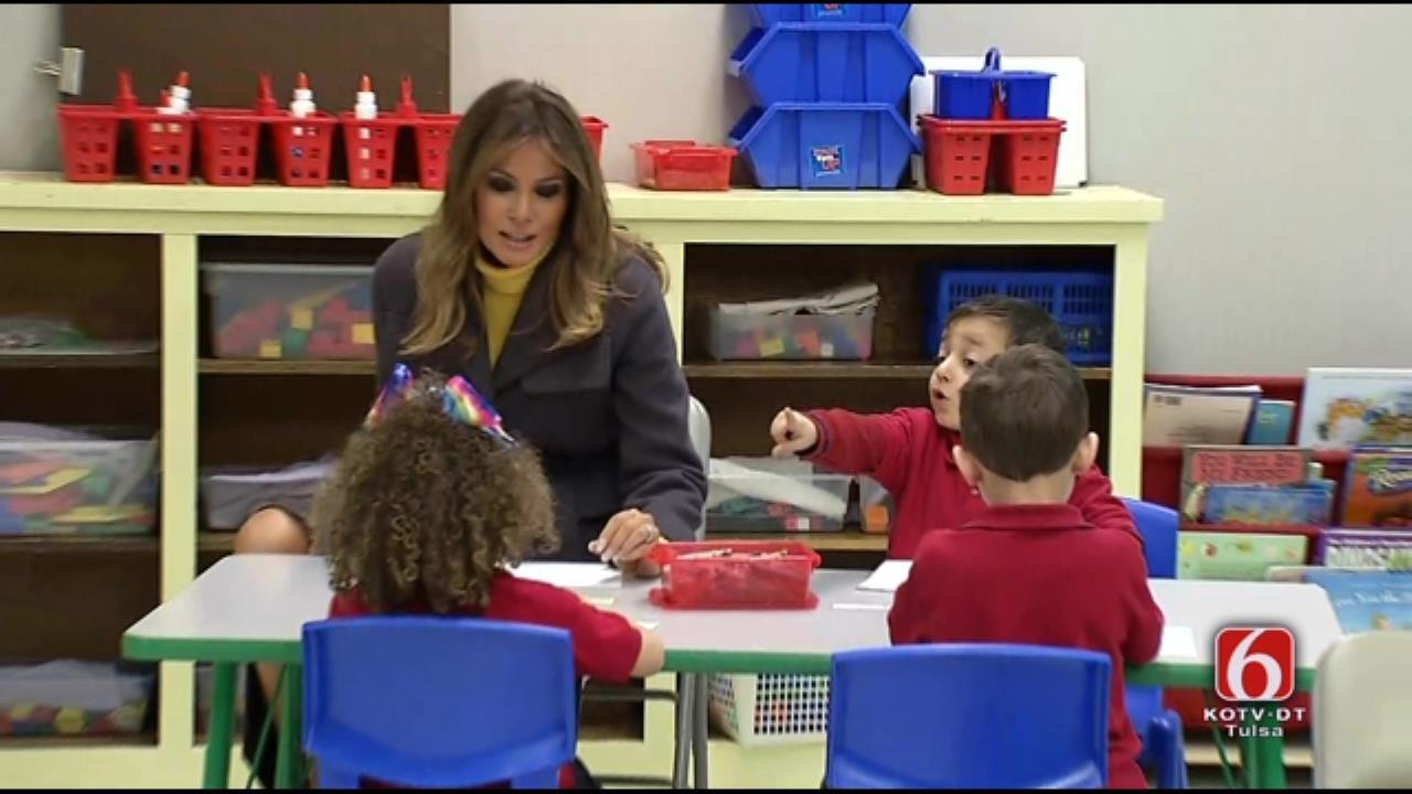First Lady Melanie Trump Arrives At Tulsa Elementary School