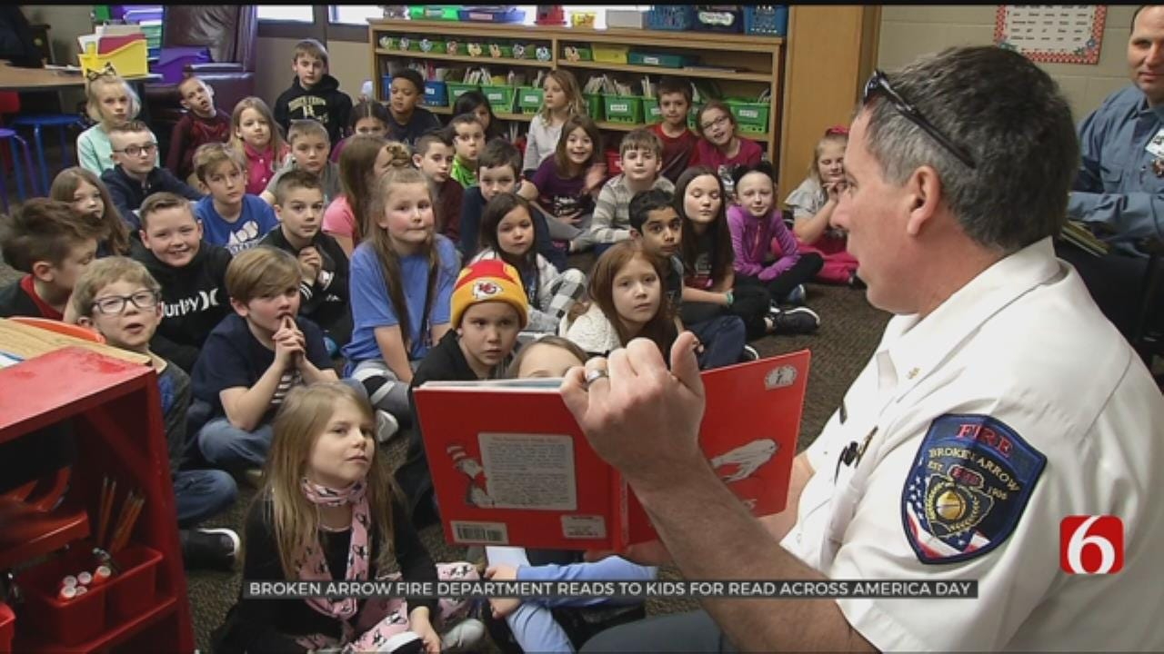 Broken Arrow Firefighters Read To Students For Dr. Suess' Birthday