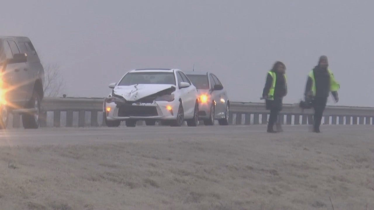 WATCH: Multi-Car Crash Causes Major Backup During Winter Weather