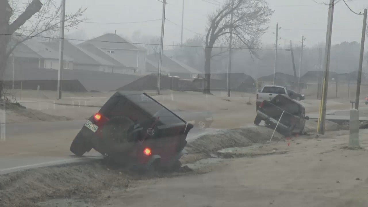 WATCH: Several Cars End Up Roadside During Winter Weather