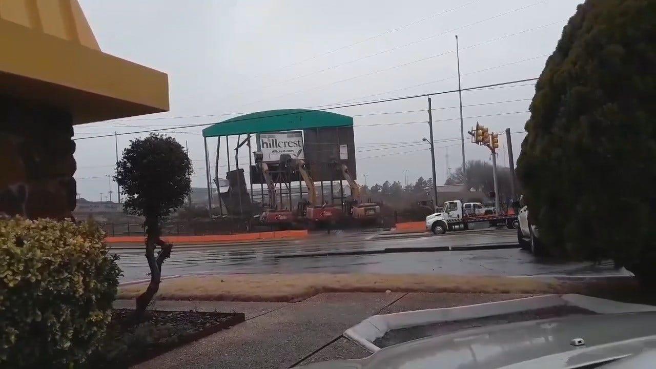 WATCH: Tulsa Driller Stadium Scoreboard Comes Down