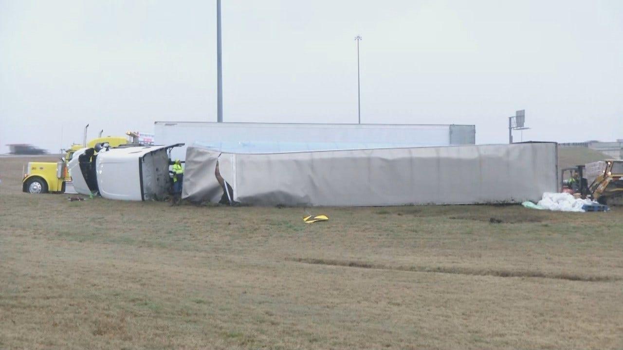 WATCH: Truck Carrying Toilet Paper Flips On Tulsa Highway