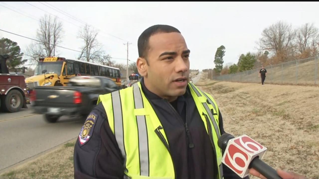 WATCH: Broken Arrow Police On School Bus Wreck