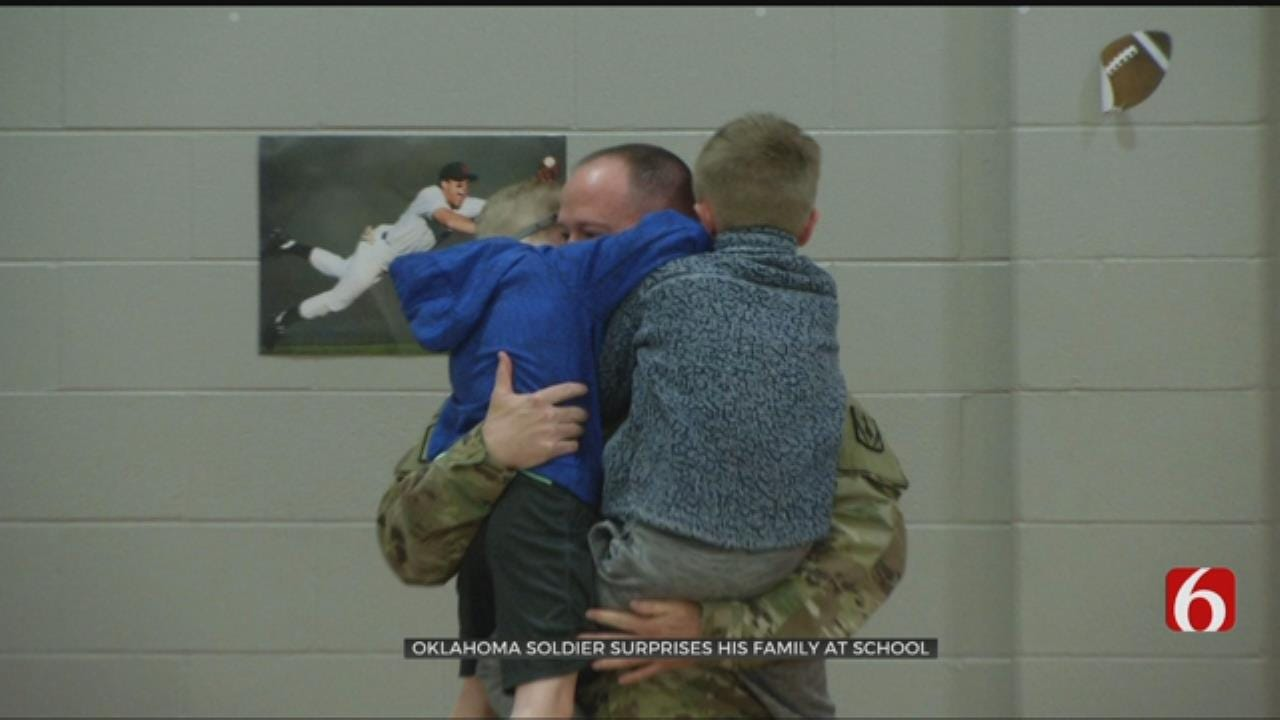 Claremore Soldier Returns Home To Surprise Kids At Assembly