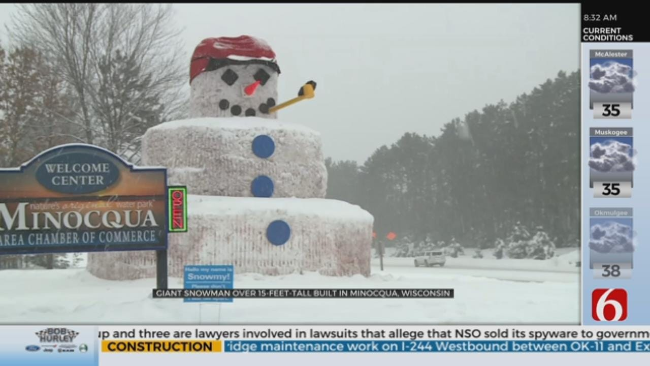 Giant Snowman Welcomes Visitors To Wisconsin Town