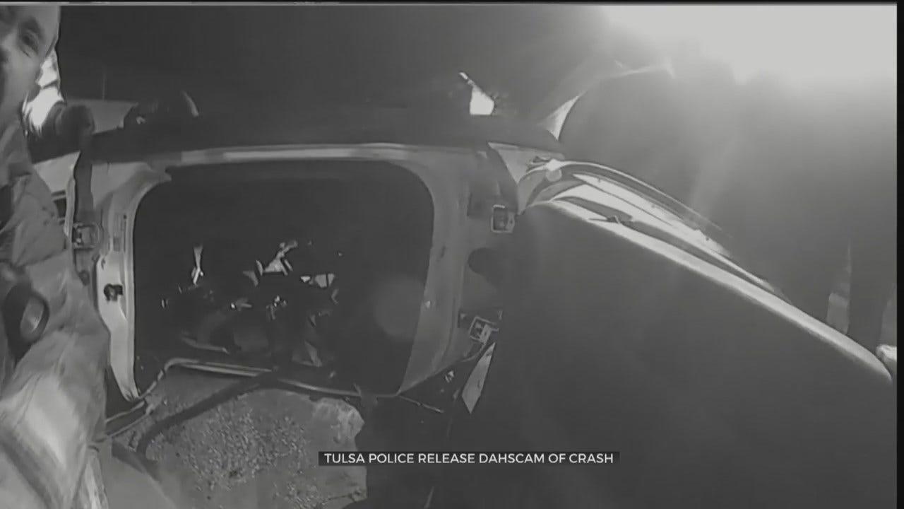 WATCH: Tulsa Police Release Dashcam From Patrol Car Crash