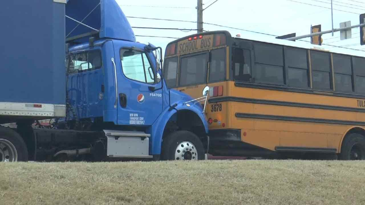 Man Steals Pepsi Truck With Worker In Back, Hits Tulsa School Bus