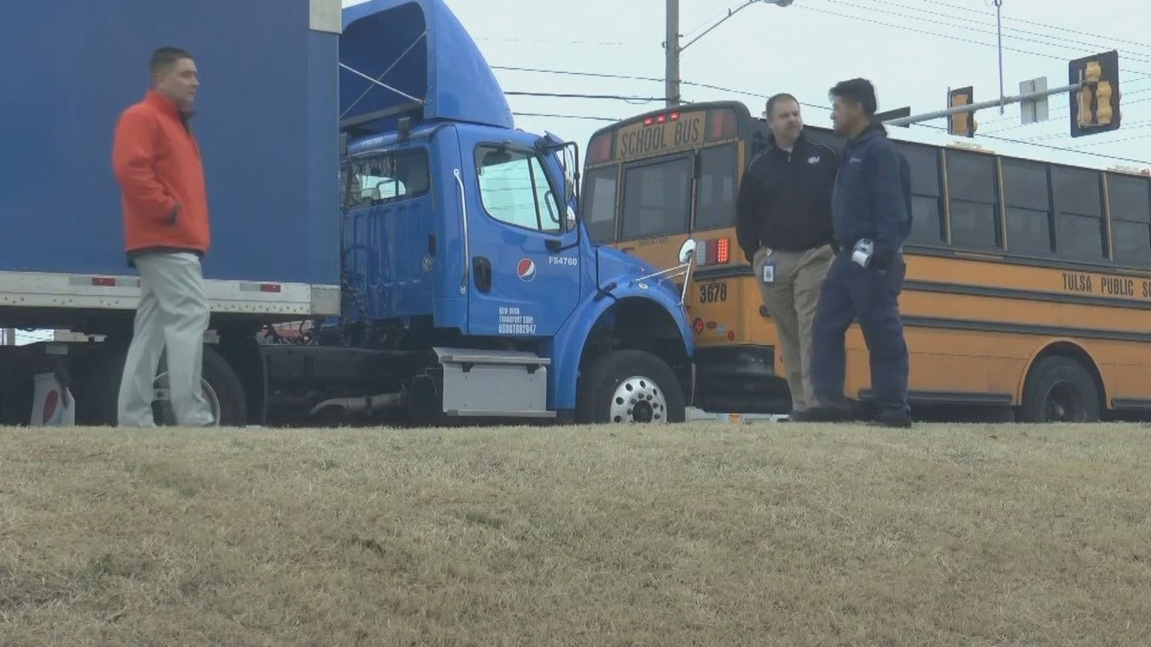 Stolen Pepsi Truck Rear-Ends Tulsa School Bus