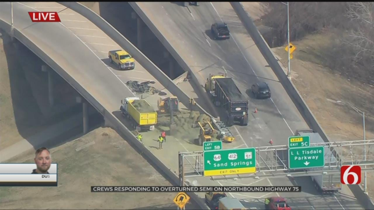 Semi Overturns, Blocking Exit To WB Highway 412 From Tulsa's IDL