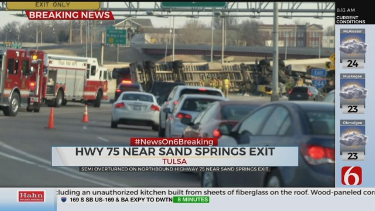 Overturned Semi on I-244