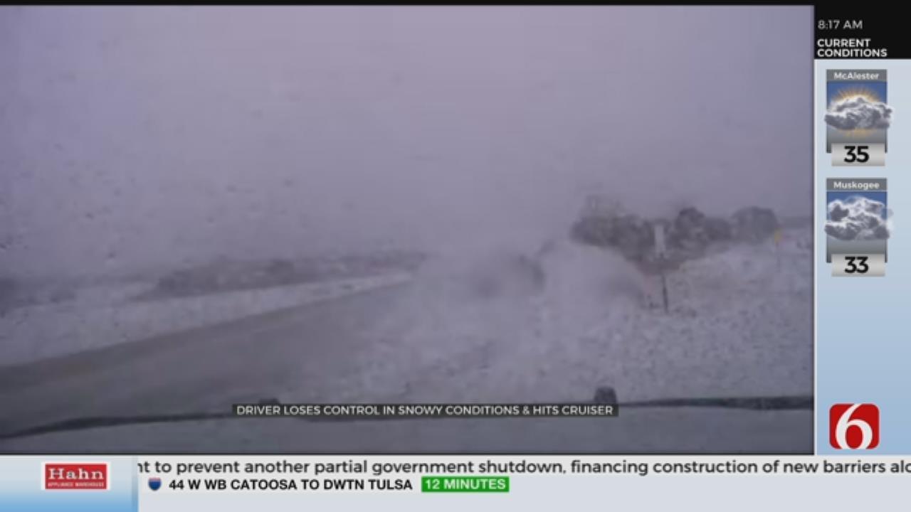 Dashcam Shows Iowa Driver Crash Into Deputy In Winter Weather