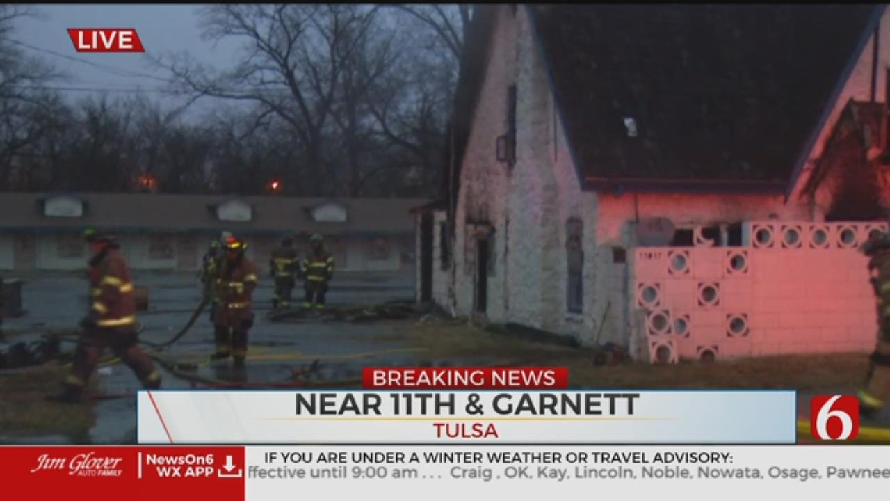 Tulsa Crews Work To Extinguish Fire At Abandoned Motel