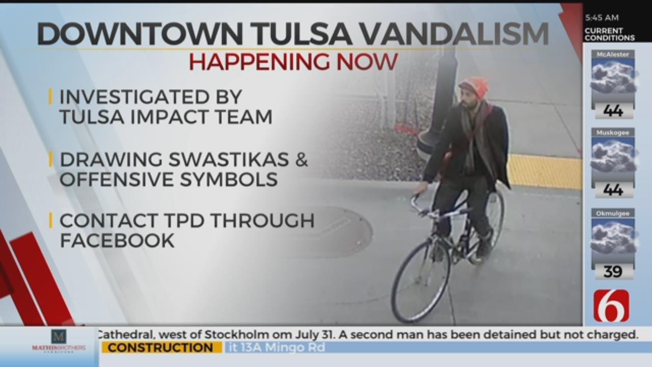 Police Looking For Man Seen Drawing Racist Imagery In Downtown Tulsa