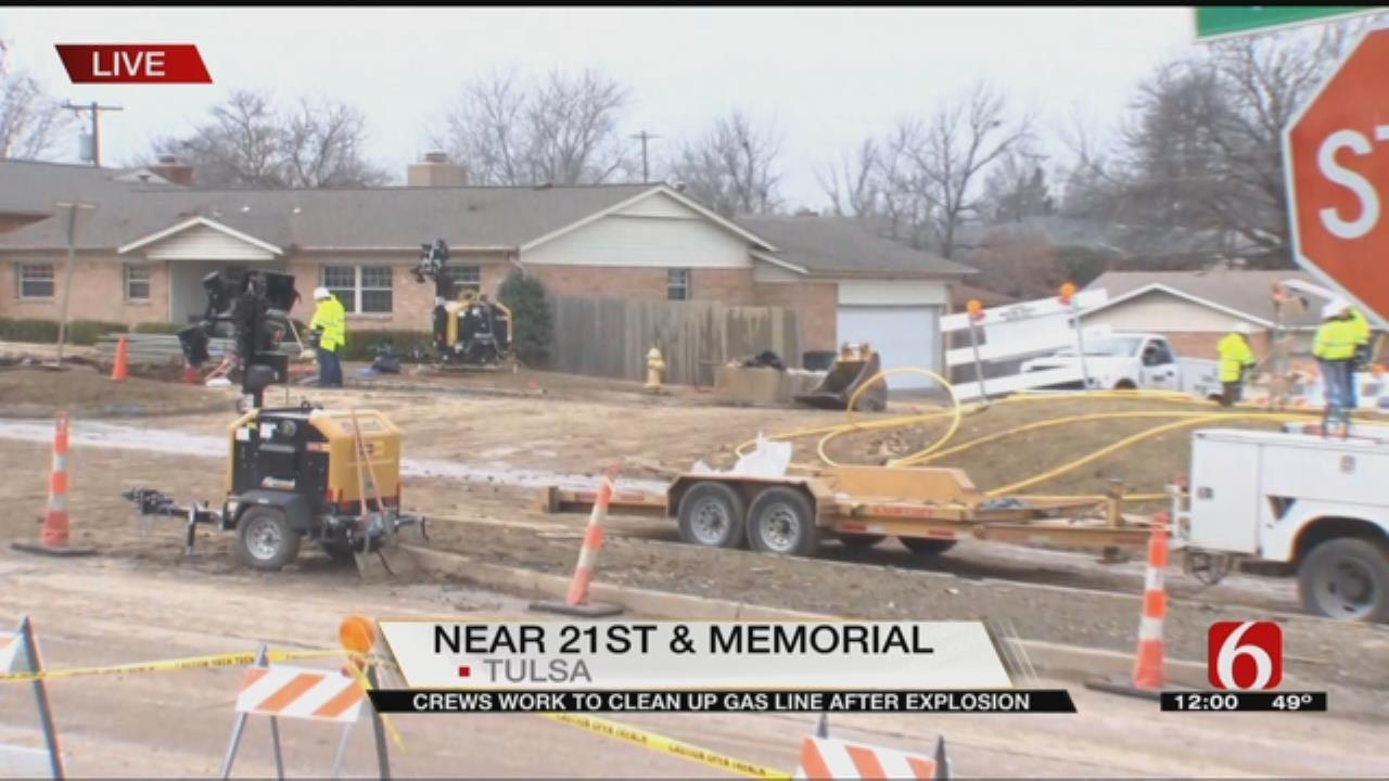 Emergency Crews Work To Repair Broken Gas Main In Tulsa