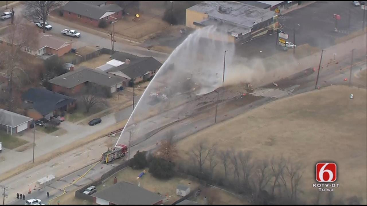 WATCH: Tulsa Fire Pours Water On Gas Line Explosion