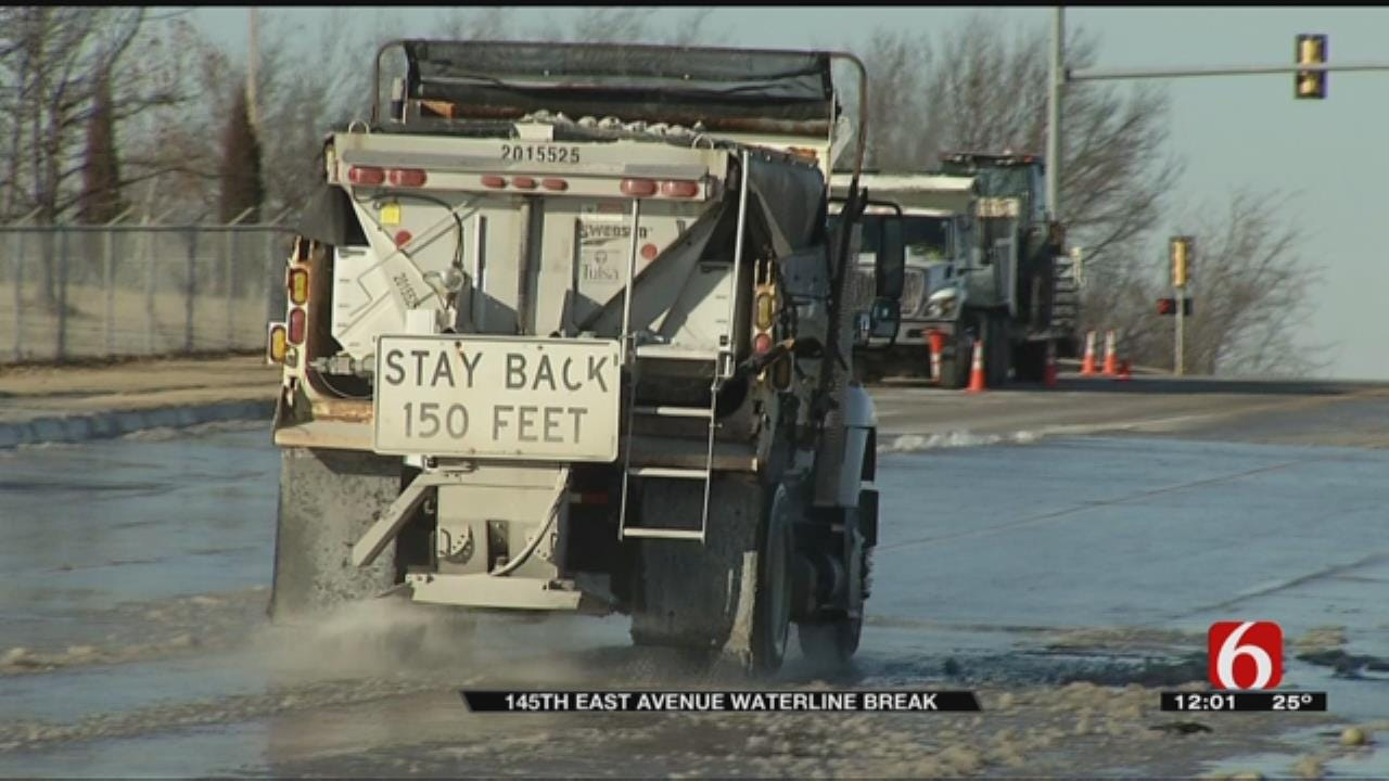 Water Main Break Causes Deep Freeze On Tulsa Roadway