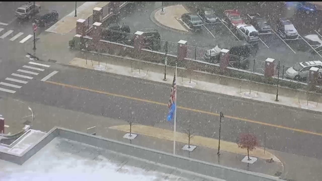 Snow Falls In Downtown Tulsa