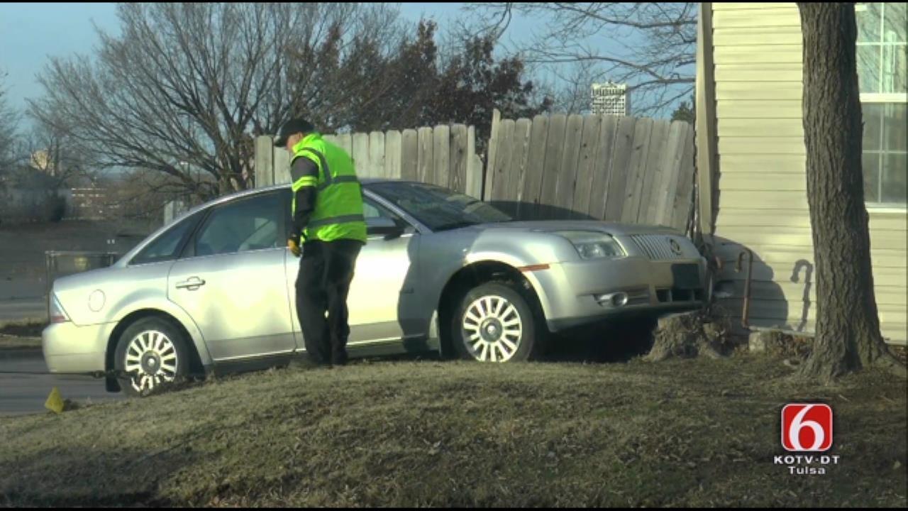 Car Hits Tulsa House, Driver Runs Away