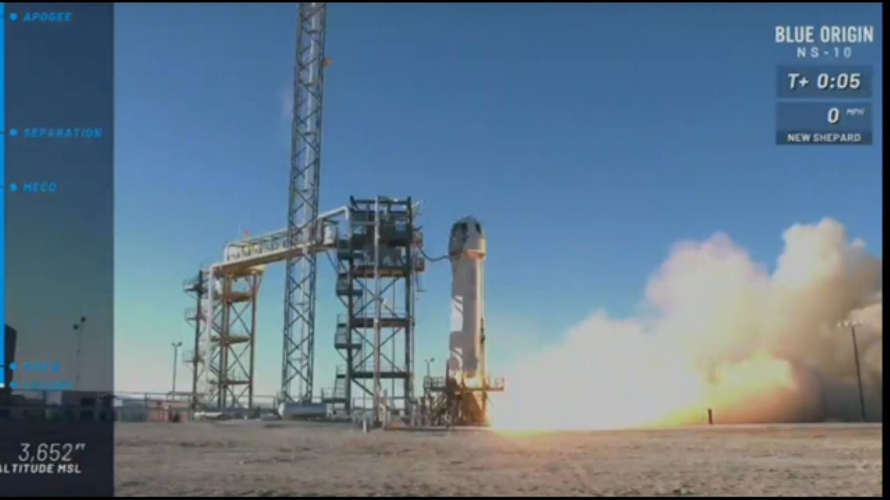 Blue Origin Rocket Launches From West Texas
