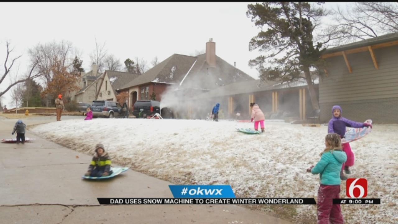 Tulsa Dads Make Snow For Their Kids